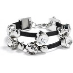 GUESS GUESS Silver-Tone Rhinestone Friendship Bracelet - black