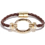 GUESS GUESS Gold-Tone Braided Magnetic Bracelet - brown