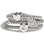 GUESS GUESS Silver-Tone Heart-Charm Mesh Bangle Set - silver