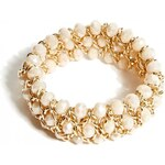 GUESS GUESS Gold-Tone Thick Stretch Bracelet - pink