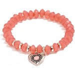GUESS GUESS Rose Gold-Tone and Coral Heart Stretch Bracelet - coral