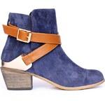 Kotníkové boty se zlatou sponou Timeless modré