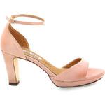 Růžové sandály na podpatku s páskem MARIA MARE