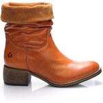 Hnědé kožené ohrnovací polokozačky Online Shoes