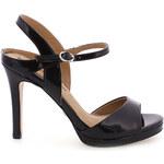 Černé lesklé sandály na podpatku MARIA MARE