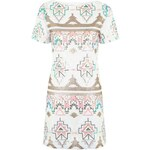 Topshop **T-Shirt-Kleid mit Aztekenmuster und Pailletten von Rare - Weiß