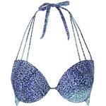Topshop Batik-Bikinioberteil mit tiefem Dekolleté - Blau