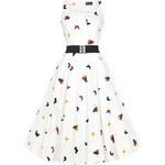 Retro šaty Lady V London Jasmine White Butterfly 36