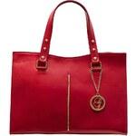 Glamorous by Glam Červená kožená kabelka se zlatým proužkem