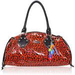 LS fashion Oranžová kabelka leopardí look