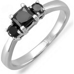 KLENOTA Zlatý prsten s černými diamanty