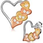 Damson Ocelové náušnice - srdce