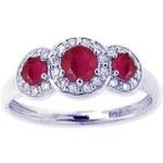 KLENOTA Prsten z bílého zlata s rubíny a diamanty