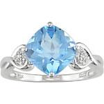 KLENOTA Prsten zlatý s topazem a diamanty