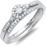 KLENOTA Snubní a zásnubní prsten s diamanty