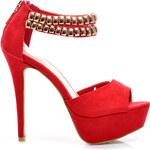 VICES Sandálky na podpatku se zlatým řetízkem