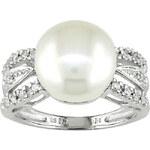 KLENOTA Prsten z bílého zlata s perlou a diamanty