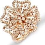 KLENOTA Koktejlový prsten z růžového zlata ve tvaru květiny s diamanty