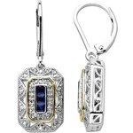 KLENOTA Stříbrné náušnice se safíry a diamanty