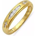KLENOTA Pozlacený stříbrný prsten s diamanty