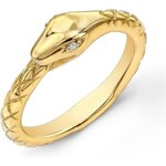 KLENOTA Pozlacený stříbrný prsten s diamantem had