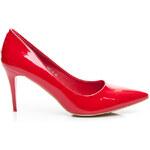 VICES Lakované červené lodičky na nízkém podpatku