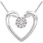 KLENOTA Diamantové srdce na stříbrném řetízku