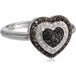 KLENOTA Stříbrný prsten Srdce s černými diamanty