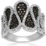 KLENOTA Stříbrný prsten s černými a bílými diamanty