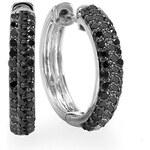 KLENOTA Stříbrné náušnice s černými diamanty