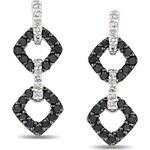 KLENOTA Náušnice s černými a bílými diamanty