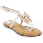 SUPER MODE Bílé sandály s motýlem