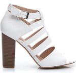 Belle Women Bílé sandále na širokém podpatku
