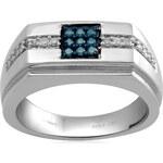KLENOTA Prsten ze stříbra pro muže s mnoha diamanty