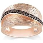 KLENOTA Stříbrný prsten s hnědými diamanty