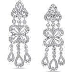 KLENOTA Visací stříbrné náušnice s diamanty