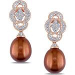 KLENOTA Pozlacené náušnice s perlou a diamanty