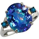 Klenota Stříbrný prsten s mystickým modrým křemenem