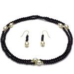 KLENOTA Náhrdelník a náušnice z perel a onyxů