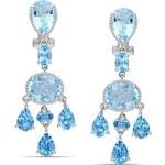 KLENOTA stříbrné náušnice s modrými topazy