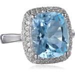 KLENOTA Stříbrný prsten s modrým topazem a safíry