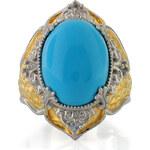 KLENOTA Pozlacený prsten Michael Valitutti s tyrkysem