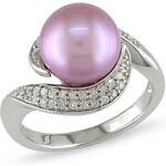 KLENOTA Stříbrný prsten s perlou v lila barvě a diamanty