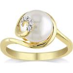 KLENOTA Pozlacený prsten s perlou a diamanty
