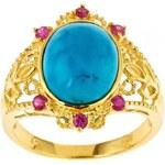 KLENOTA Pozlacený prsten s tyrkysem a rubíny