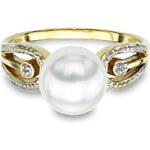 KLENOTA Zlatý prsten s perlou Akoya