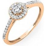 KLENOTA Zásnubní prsten z růžového zlata s diamanty