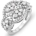 KLENOTA Koktejlový diamantový prsten z bílého zlata