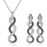 KLENOTA Souprava diamantových náušnic a náhrdelníku ze stříbra