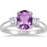 KLENOTA Zlatý prsten s ametystem a diamanty